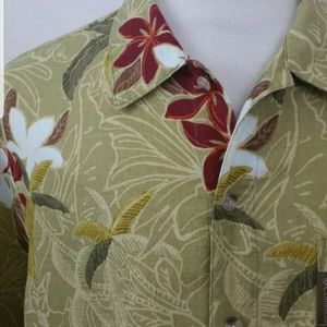 Mens COLUMBIA Hawaiian Aloha Camp Shirt Moss Green